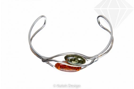 kolok.ro-Brățară argint ajustabilă cu piatră de chihlimbar coniac si verde-KDUK04-30