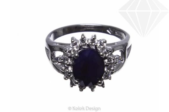 kolok.ro-Inel argint oval cu safir albastru și pietricele de zirconia, 6-KDI520-30