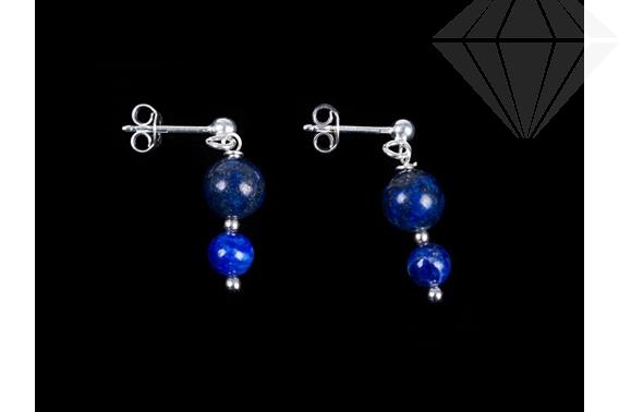 kolok.ro-Cercei din argint cu pietre rotunde lapis lazuli-KDK58-30