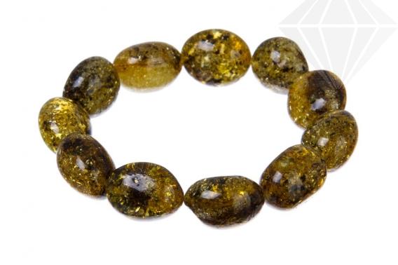 kolok.ro-Brățară elastică din chihlimbar verde cu mărgele ovale-KONFB01-30