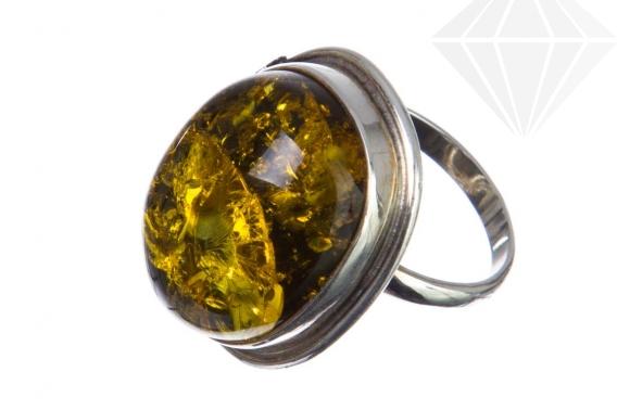 kolok.ro-Inel unicat argint 925 cu piatră ovală de chihlimbar verde,8-KDUK119-30