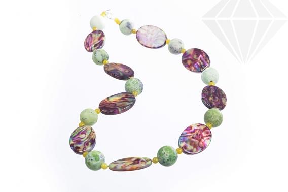 kolok.ro-Colier CAMELEON cu jad chita și sidef multicolor-KDK395-30