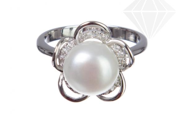kolok.ro-Inel floare din argint cu perla de cultură și zirconia,6-KDI557-30