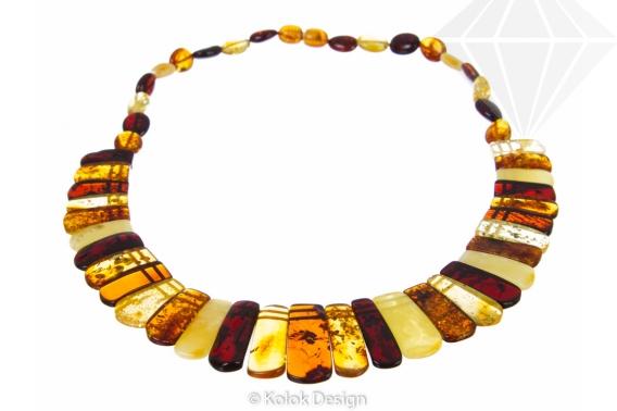 kolok.ro-Colier Cleopatra din chihlimbar baltic în formă de prisme-KDX061-30