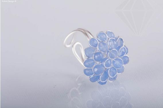 kolok.ro-Inel ajustabil cu forma de floare din agat albastru deschis-KDI337-30