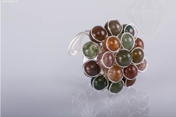 kolok.ro-Inel ajustabil cu forma de floare din pietre mixte-KDI339-30