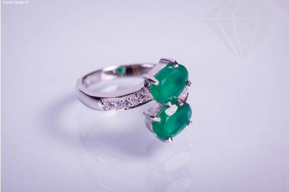 kolok.ro-Inel din argint cu două pietre ovale din agat verde-KONFI07-30