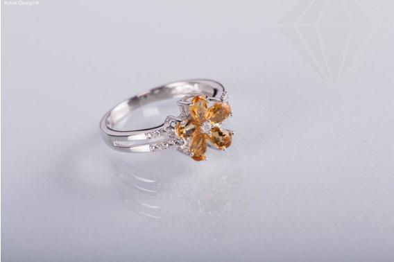 kolok.ro-Inel din argint cu formă de floare cu pietre de citrin, 7-KDI375-30