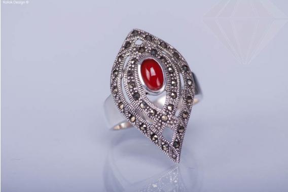 kolok.ro-Inel din argint în formă de picătură cu agat roșu, mărime 7-KDI297-30