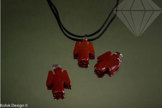 kolok.ro-Pandantiv plat din jasp roșu, în formă de îngeraș-KD15921-30