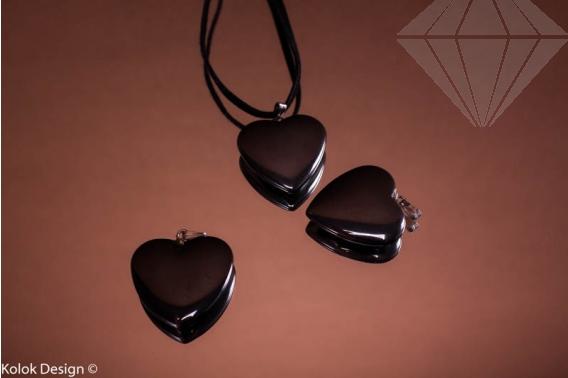 kolok.ro-Pandantiv din hematit în formă de inimă cu diametru de 25 mm-KD1607-30