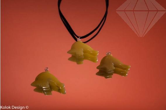 kolok.ro-Pandantiv din jad în formă de delfin-KD1593-30