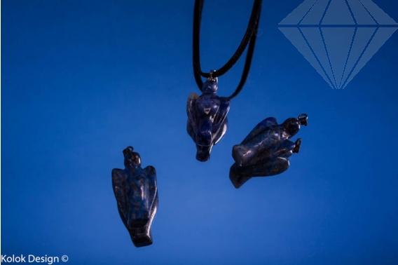 kolok.ro-Pandantiv din lapis lazuli în formă de îngeras-KD1588-30