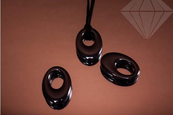 kolok.ro-Pandantiv donut oval din hematit.-KD1601-30