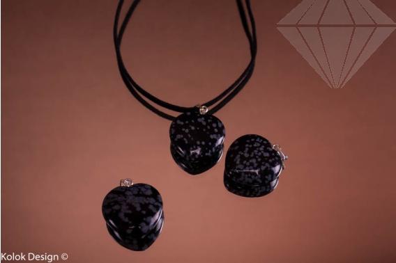 kolok.ro-Pandantiv obsidian în formă de inimă, dimensiune de 20 mm-KD1616-30