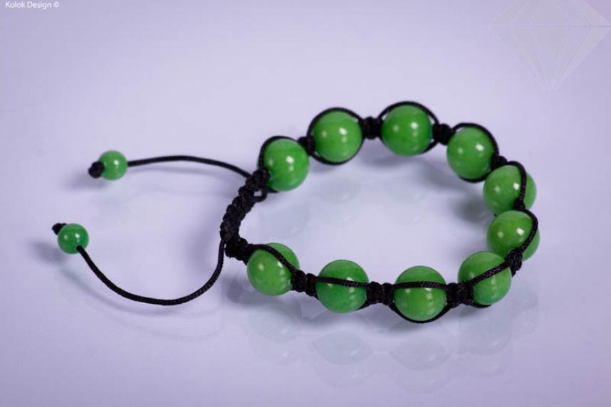 kolok.ro-Brățară Shamballa din șiret negru cu bile din jad verde-KDI100-30