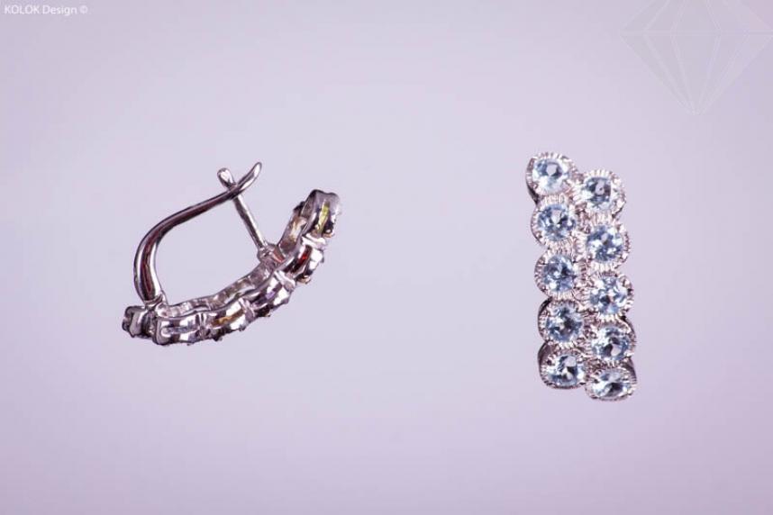 kolok.ro-Cercei duble din argint cu pietre de topaz albastru-KDI211-30