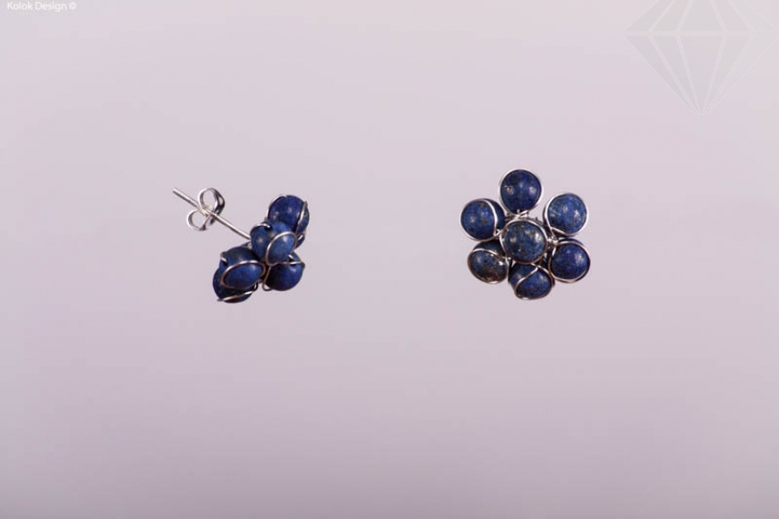 kolok.ro-Cercei în formă de floricică cu lapis lazuli-KDI342-30