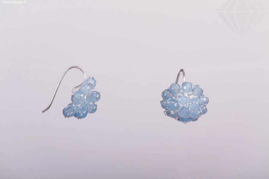 kolok.ro-Cercei model floare cu pietre din agat albastru deschis-KDI332-30