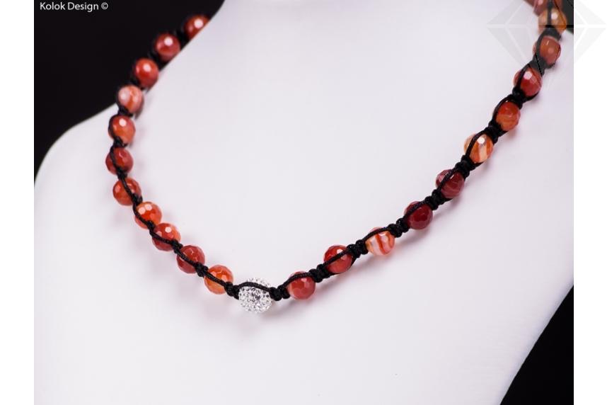 kolok.ro-Colier Shamballa cu mărgele fațetate din agat roșu și cristal-KDI270-30