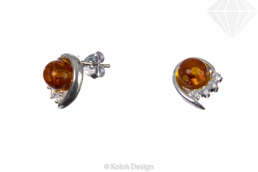 kolok.ro-Cercei rotunde din argint cu chihlimbar și pietricele albe-KDI078-30