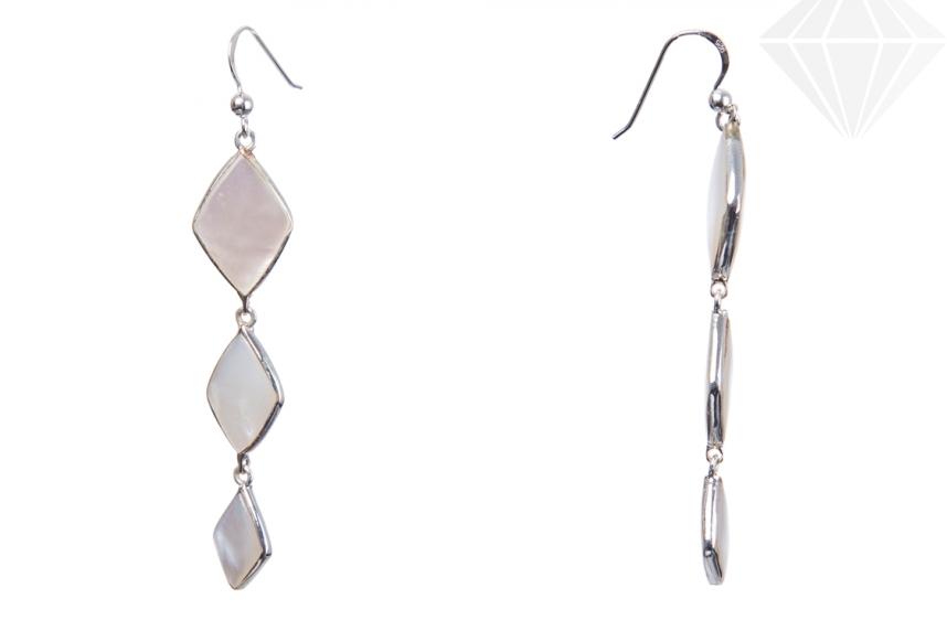 kolok.ro-Cercei lungi din argint decorate cu sidef alb-KDI678-30