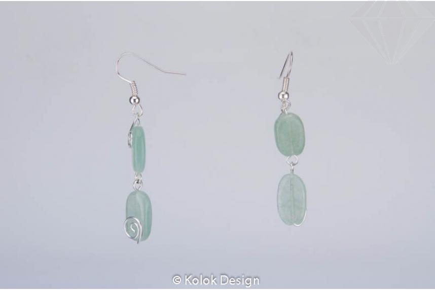 kolok.ro-Cercei handmade cu două pietre ovale de aventurin-KDHE51-30