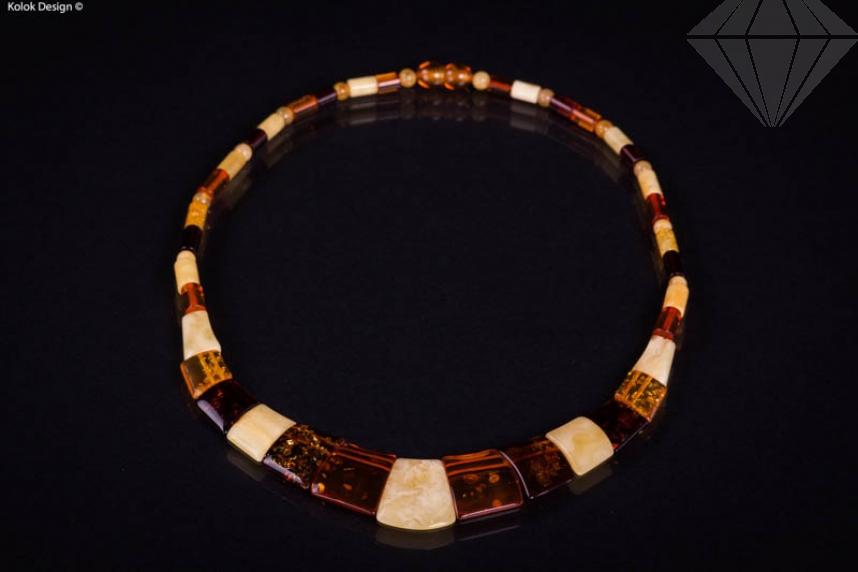 kolok.ro-Colier din chihlimbar cu mărgele diferite și rectangulare-KDX0234-30