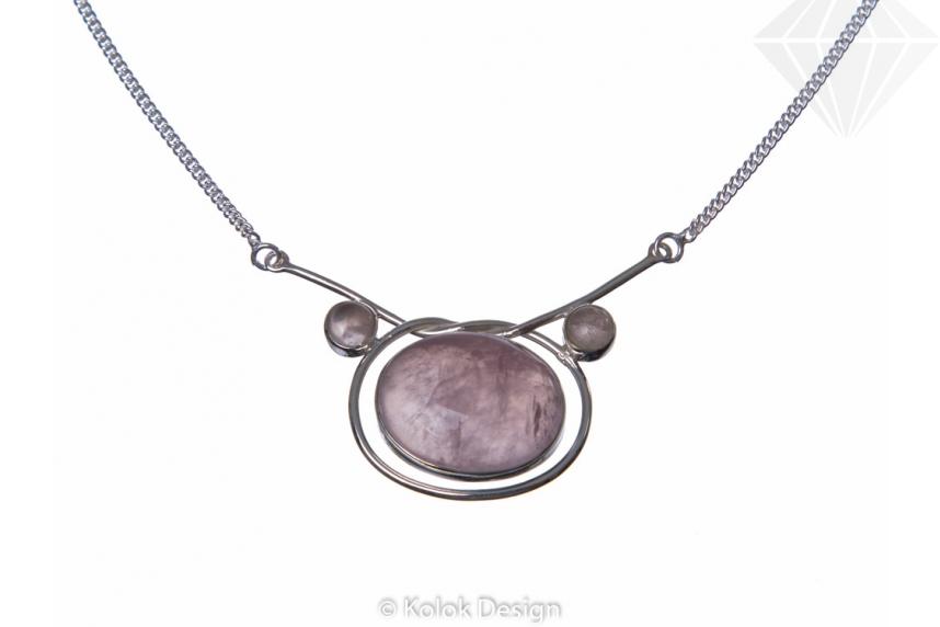 kolok.ro-Colier argint 925 cu pandant oval cuarț roz-KDP55-30