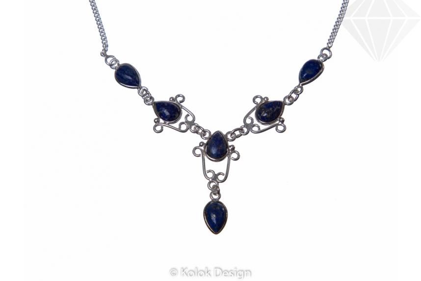 kolok.ro-Colier argint 925 model lalea cu pietre de lapis lazuli-KDP72-30