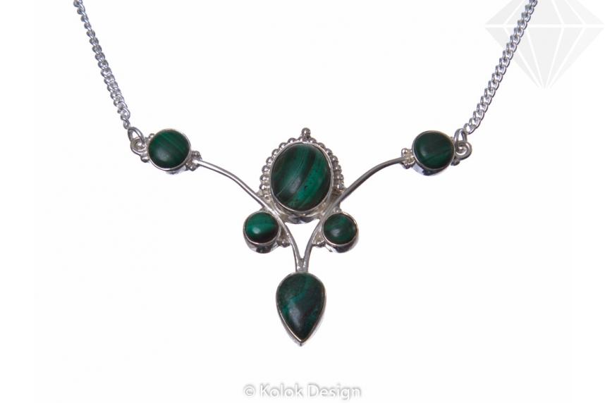 kolok.ro-Colier argint 925 stil vintage cu pietre de malachit-KDP78-30