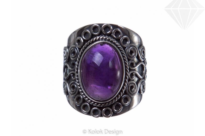 kolok.ro-Inel argint stil vintage cu o piatră ovală de ametist 7-KDP95-30