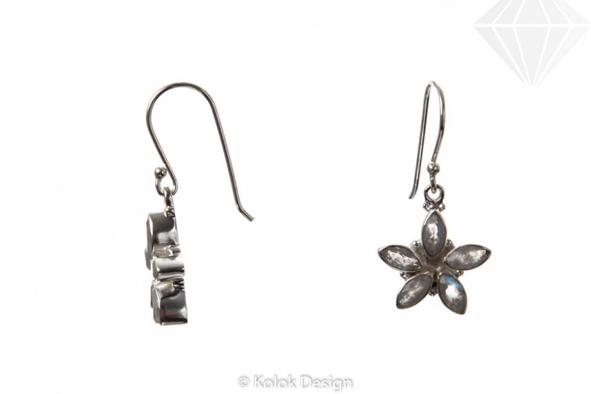 kolok.ro-Cercei floare din argint 925 cu piatra lunii alb-KDP30-30