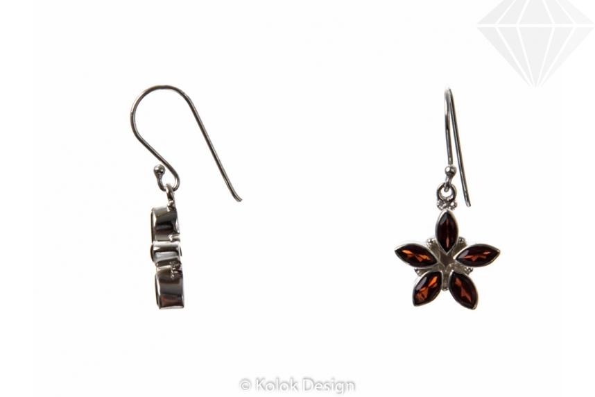 kolok.ro-Cercei floare din argint cu pietre semiprețioase de granat-KDP28-30