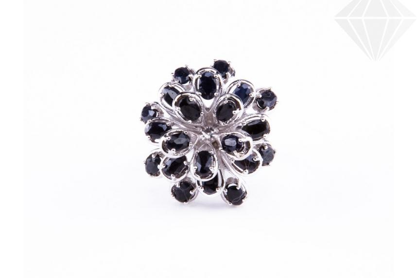 kolok.ro-Inel floare din argint 925 cu safir negru 7-KDI518-30