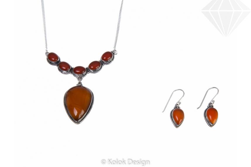 kolok.ro-Set de bijuterii vintage din argint cu pietre de carneol-KDP191-30