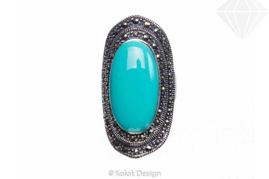 kolok.ro-Inel argint masiv cu o piatră ovală de turcoaz verde 7-KDI544-30