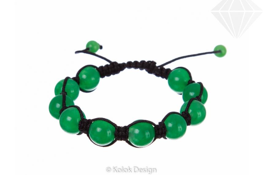 kolok.ro-Brățară Shamballa din șiret negru cu bile din jad verzui-KDI101-30