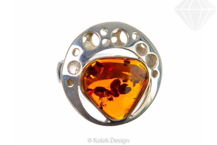 kolok.ro-Inel rotund lux din argint cu chihlimbar coniac-KDE034-30