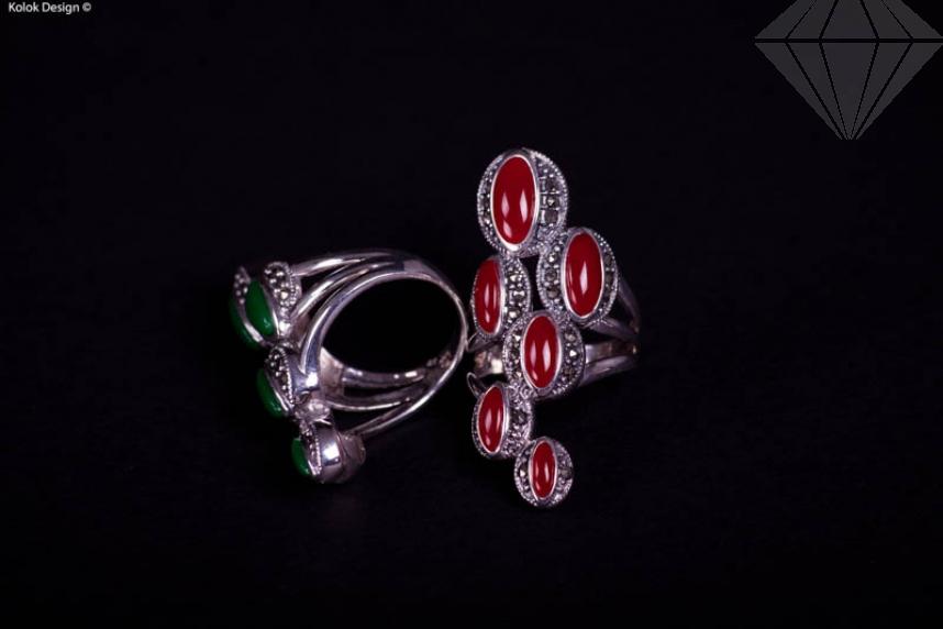 kolok.ro-Inel din argint cu mărgele ovale din agat verde, mărime 6-KDI048-30
