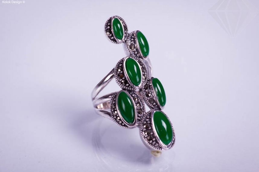 kolok.ro-Inel din argint cu mărgele ovale din agat verde, mărime 6-KDI046-30