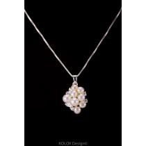 kolok.ro-Pandantiv elegant din argint cu perle multiple și zirconia-KDI390-20