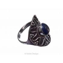 kolok.ro-Inel oval din argint 925 în stil vintage cu lapis lazuli-KONFI65-20