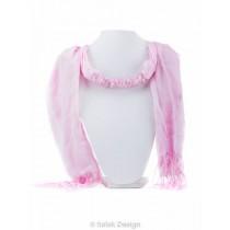 kolok.ro-Eșarfă roz bumbac cu pietre mici de cuarț roz-KDI536-20