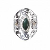 kolok.ro-Inel oriental argint cu o piatră semiprețioasă de malachit 7-KDP148-20