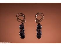 kolok.ro-Cercei obsidian cu două mărgele, închizătoare tip cârlig-KD100532-20