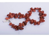 kolok.ro-Colier din goldstone maro cu mărgele în formă de zig-zag-KONFC177-20