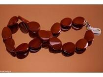 kolok.ro-Colier jasp roșu cu mărgele ondulate și ovale 18x25mm-KONFC119-20