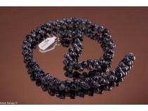kolok.ro-Colier obsidian fulg-de-nea de 50cm cu mărgele de oscioare-KD1444-20