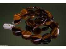 kolok.ro-Colier ochi de tigru mărgele ondulate și ovale 18x25mm-KONFC123-20